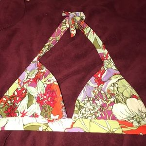 Patagonia red green floral tie bikini top size M